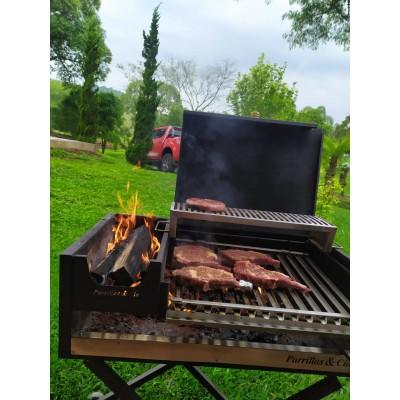 Churrasqueira Parrilla Portátil Campeira com Tampa + Descanso de Carnes Inox + Chapa Bistequeira
